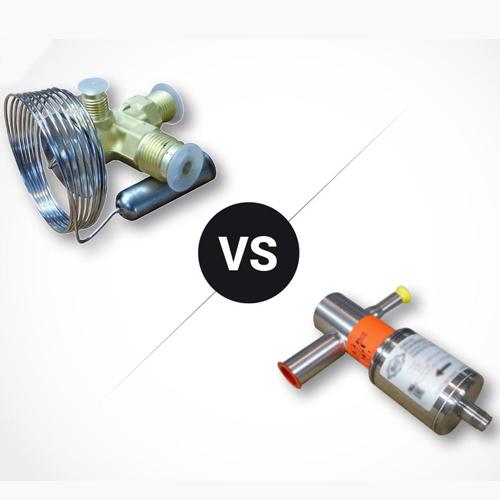 Détendeur thermostatique à gauche et détendeur électronique à droite